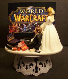 Video Game Bride Groom Wedding Cake Topper Funny Headphones Laptop Comput Chip   eBay