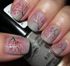 Marias Nail Art and Polish Blog: Cherry blossoms on a rainy day - kirsebærblomster på en regnfuld dag  -so pretty    looks so complicated XP
