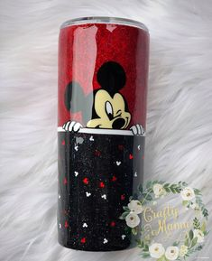 Diy Tumblers, Custom Tumblers, Glitter Tumblers, Glitter Cups, Blue Glitter, Crafty Projects, Projects To Try, Mickey Mouse Cups, Disney Cups
