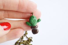 Handmade jewellery, gift for handmade lovers, cactus necklace, cactus jewelry, fimo cactus, contemporary jewelry,   See more details at my website: https://www.etsy.com/ca/listing/523916639/cute-cactus-jewelry-contemporary