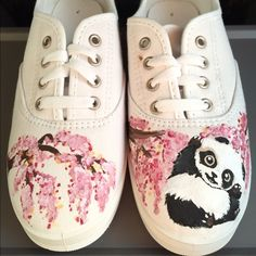 Panda Shoes Size 7. Brand New. Never worn. Hand painted and covered with protective coat. Ready to ship now! Shoes Sneakers