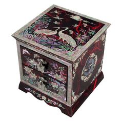 Mother of Pearl Asian Lacquer Women Wooden Jewelry Trinket Keepsake Treasure Gift Girls Jewel Ring Drawer Box Chest Case Organizer with Flower and Crane Design in Red Korean Mulberry Paper - Antique Chest