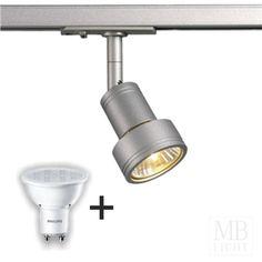PURI Lampenkopf, silbergrau, GU10, max. 50W, inkl. 3P.-Adapter + Philips CorePro LEDspot