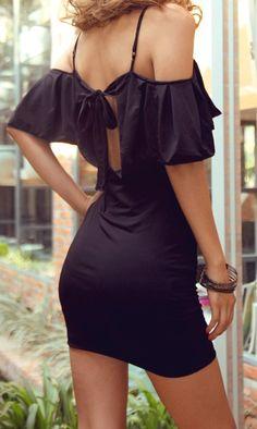 Sexy little black dress, cut off shoulders
