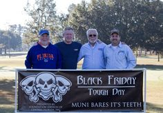 """2012 - Foundation Services sponsored the """"Black Friday Tough Day"""" charity golf tournament in Ocala, FL. Here, the owners (L-R); Keith Seyler, Darryl Hampy, Bobby Hardin, Robert Stephenson Black Friday Golf, Ocala National Forest, Marion County, Tough Day, Central Florida, Bobby, Charity, Foundation, Challenges"""