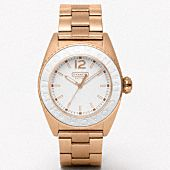 rose gold and white coach watch