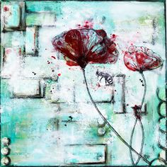 Mixed Media Canvas made from Stephanie Schütze with painted poppies and a drawing of a little bee. http://scrapmanufaktur.blogspot.ch/2014/08/a-put-off-and-new-mixed-media-canvas.html?m=1