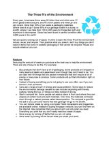 The ''Three Rs'': Reduce, Reuse, & Recycle