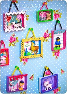 Mini shadow boxes - all recyclables - can use posterboard for the frame, and ribbon to cover the frame! sweet idea!