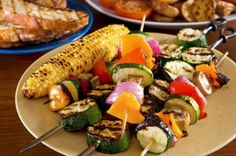Skewered Seasonal Vegis Ingredients Favorite vegetables: eggplant, summer squash, onions, bell peppers, zucchini, tomatoes olive oil 1 tbsp of dried rosemary or several spring of fresh  Directions: Choose a wide selection of fresh in-season vegetables.  Rinse all vegetables. Chop vegis into 1 inch pieces. Slide onto skewers or if you prefer toss into a grilling basket. Lightly coat the vegetables in olive oil and grill until vegetables are done through and slightly browned.