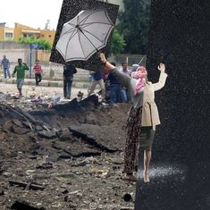 Digital collage artist Uğur Gallenkuş shows the stark contrast between the thriving Western world and the war-torn Middle East. Side By Side Pictures, Side By Side Photo, Combine Pictures, Western World, Powerful Images, Collage Artists, Collages, Anatomy Art, Second World