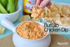 Are you on the hunt for some delicious Super Bowl snacks, but still want to achieve your New Year's fitness goals? Then we have the appetizer for you! This Skinny Buffalo Chicken Dip recipe will have your football fanatics cheering for more, and it's so easy to make! It is bursting with flavor with just a slight kick from the hot sauce. Serve this spicy, creamy chicken dip along side tortilla chips and veggies and it will be a hit on Game Day!