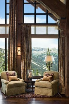Tour a stunning rustic mountain home by Locati Architects and Schlauch Bottcher Construction, located in Yellowstone Club, Big Sky, Montana. Cabana, Living Room Designs, Living Spaces, Living Rooms, Montana, Cabin In The Woods, Guest Bedrooms, Rustic Bedrooms, Master Bedroom