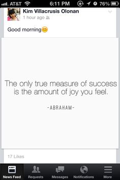 True measure of success