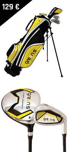 Green's - Kit enfant 12 ans et plus !  Les fers sont adaptés à la taille des enfants et à leur swing. Le kit contient : - 5 compartiments - 5 clubs (Bois 3, F7, F9, SW et un putter)  - Un sac trépied avec double sangle - 5 poches - Porte-parapluie - Une capuche pluie Golf Bags, Golf Clubs, Sports, 12 Year Old, Pockets, Children, Human Height, Bag, Hs Sports