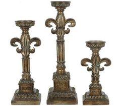 NFM.com – Crestview Collection Fleur De Lis Candlestick - Set of 3