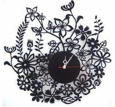 Black laser-cut metal Wall Clock Flower that can be ordered from Tassels. Unusual Clocks, Cool Clocks, Clock Flower, Flower Wall, Floral Clock, Traditional Clocks, Record Crafts, Home Clock, Laser Art