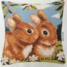 "Bunny Rabbit Verachtert Vervaco Pillow Top Needlepoint Kit 16"" Belgium 