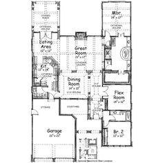 European Style House Plan - 3 Beds 2 Baths 2283 Sq/Ft Plan #20-1415 Main Floor Plan - Houseplans.com
