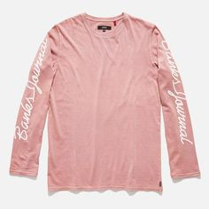 This organic mens long sleeve tee is a vintage pink washed and garment dyed tee  shirt with a retro Banks Journal screen print on each sleeve. bce28230b