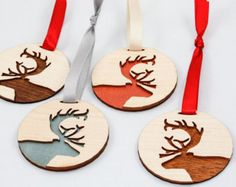 Love these Wooden Reindeer Ornaments