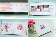 Photographers: this adorable ABC album will complement any children's portrait session! #designaglow #babyalbum