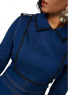 7f02d9ac Flat Collar Long Sleeve Denim Blue Dress | modlily.com - USD $39.81