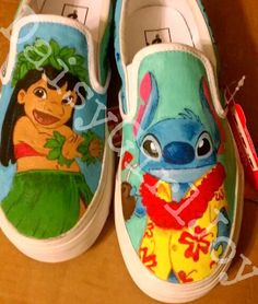 Adult Custom hand painted Disney Lilo & Stitch shoes on Etsy, $100.00