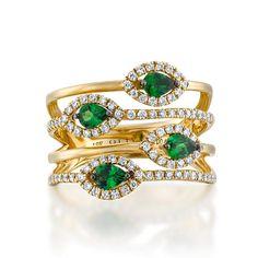 1 Ctw Green Garnet and Diamond Ring Layered ring diamond