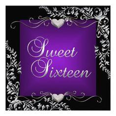 Sweet Sixteen 16 Birthday Party Black Purple Custom Announcements