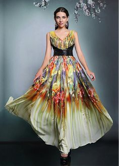 In Stock Exquisite Printed Georgette & Heavy Malay Stain V-neck Prom Dresses