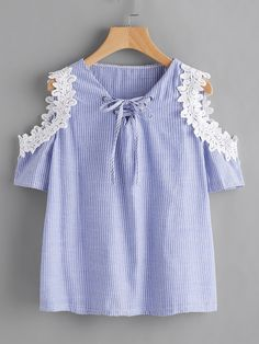 Shop Crochet Applique Trim Open Shoulder Lace Up Pinstriped Top online. SheIn offers Crochet Applique Trim Open Shoulder Lace Up Pinstriped Top & more to fit your fashionable needs. Little Girl Dresses, Girls Dresses, Girl Outfits, Cute Outfits, Kids Fashion, Womens Fashion, Fashion Black, Fashion Fashion, Fashion Ideas