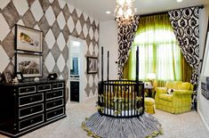 Stunning nursery design with the round crib taking center-stage!