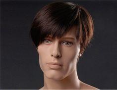 Wigs Men's Kanekalon Fiber Side-Swept Bang Short Straight Wig (Dark Brown) Discount Online Shopping