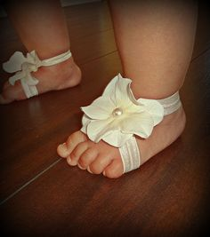 Baby Barefoot Sandals & Headband Barefoot Sandals by SecretBlossom