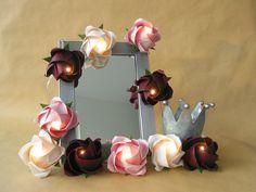 Lichterketten - Lichterkette große Rosen in bordeaux-weiß-rosé - ein Designerstück von Daggis-Faltenreich bei DaWanda