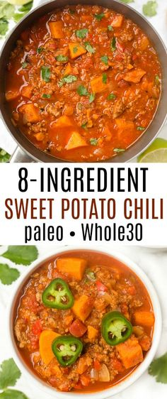 This Paleo sweet potato chili is an easy one-pot dinner recipe with only 8 ingredients! approved, can use ground turkey or ground beef. with ground beef healthy Paleo Sweet Potato Chili - Healthy Liv Turkey Sweet Potato Chili, Sweet Potato Dinner, Soup With Sweet Potato, Whole 30 Sweet Potato Recipe, Crockpot Sweet Potato Recipes, Sweet Potato Soup Healthy, Recipes With Sweet Potatoes, Savory Sweet Potato Recipes, Paleo Sweet Potato Casserole
