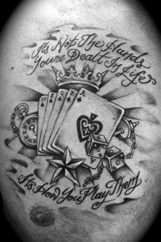 Life s a gamble designs wrist tattoos pictures lifes a gamble tattoo, latin kings Casino Tattoo, Vegas Tattoo, Card Tattoo Designs, Tattoo Images, Lifes A Gamble Tattoo, Playing Card Tattoos, Cool Playing Cards, Bild Tattoos, Best Casino