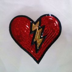 Big Red heart Iron on Patch applique Sequin clothes by Laceshine