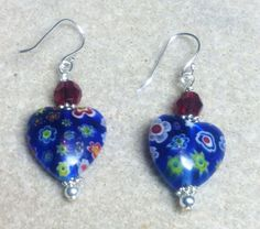 Cobalt Millefori Hearts Swarovski Garnet SS Dangle Earrings  #Handmade #Beaded