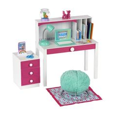 american girl doll accessories My Life As Desk Play Set for Dolls, 24 Pieces Muebles American Girl, Ropa American Girl, American Girl Doll Room, American Girl Furniture, Girls Furniture, American Girl Crafts, Barbie Furniture, American Doll Stuff, Dollhouse Furniture
