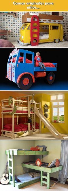 Camas originales para niños. Camas con forma de autos y camiones. Camas con tobogán.