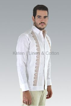 Long-Sleeved Guayabera Hand Embroidered with Silk Thread, basic collar, button cuffs, hidden buttoned front and knitted Pleats. Made 100% with best quality Irish Linen. Slim-Fit...