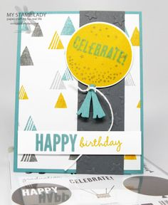 Handmade birthday card with Celebrate Today from the 2015 Occasions catalog. www.mystamplady.com