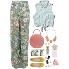 Floral pants by blueeyed-dreamer on Polyvore featuring Abercrombie & Fitch, Pilot, Mansur Gavriel, Dorothy Perkins, Kenneth Jay Lane, Sigma Beauty, Marc Jacobs and Yves Saint Laurent