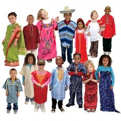 Experience life from cultures all over the world with our extraordinary line of authentic cultural clothing. Children will delight at the opportunity to wear costumes that come directly from the countries they represent. Set of 14.