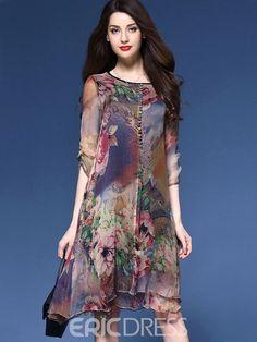 Silk Print Loose Casual Dress