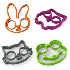 Material:Food Grade Silicone Design style:Bunny, Owl, Frog and Cat Color:Purple,Orange,Black,Green Akak Store 4 Piece Set Reusable Non Stick Silicone Fried Egg Molds Pancake Rings --100% food grade silicone material, long lasting performance. --Non stick design,scratch-resistance,protecting your pan safely. --Withstands a high cooking temperature range from -20 degrees F to 450 degrees F (-30 degrees