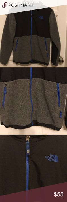Boys North Face Denali Fleece jacket Boys Large ( size 14/16 ) North Face fleece jacket my son loved this jacket but outgrew it so quickly. Great condition as seen in pics . Colors are black, grey and blue zippers and blue logo The North Face Jackets & Coats
