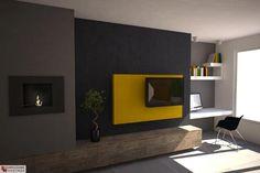 Aranżacja salonu wystrój nowoczesny w kolorach brąz, czerń, szary, żółty - projekt wnętrza #6637632, Homplex